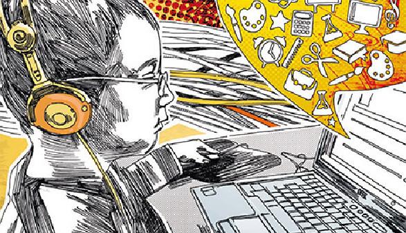 Illustration: Junge sitzt vor einem Laptop mit Kopfhörern. In einer Blase wird das gesamte Angebot online gezeigt. © P. M. Hoffmann, Falter Zeitschriften Gesellschaft m.b.H.