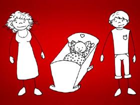 Comic: Ein Elternpaar mit ihrem Baby © News on Video, News on Video