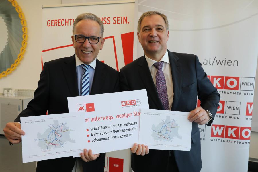 v. l. n. r.: AK Wien Präsident Rudi Kaske und Wirtschaftskammer Wien Präsident Walter Ruck  © Christian Fischer, AK Portal