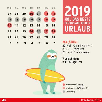 Urlaubsplaner 2019 Arbeiterkammer