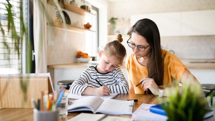 Eine Junge Mutter mit ihrem Sohn beim Homeschooling © Halfpoint, stock.adobe.com