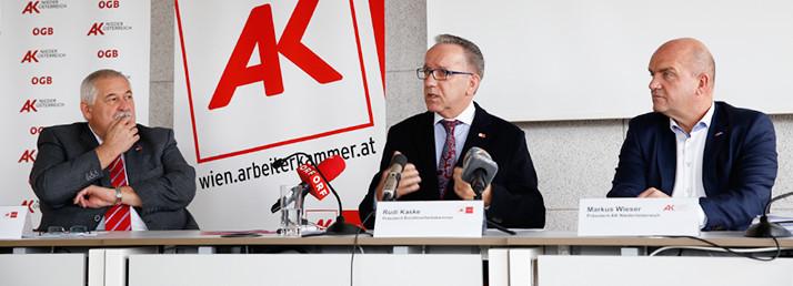 Alfred Schreiner (Präsident der AK Burgenland), Rudi Kaske (Präsident der AK Wien), Markus Wieser (AK Niederösterreich Präsident) © Lisi Specht, Arbeiterkammer