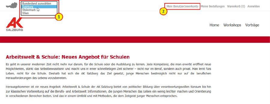 Anleitung zur Buchung © AK Salzburg, AK Salzburg