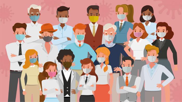 Illustration: Gruppe von unterschiedlichen Menschen mit Mund- und Nasenschutzmasken © yindee, stock.adobe.com